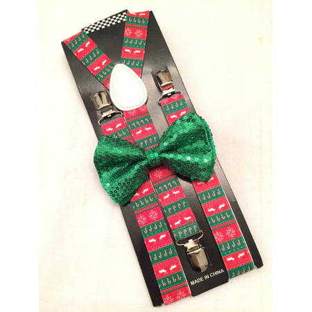 Christmas SUSPENDERS and Green Sequin BOW TIE Reindeer Matching set Xmas