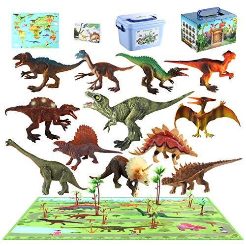 """size 31/""""x21/"""" Dinosaur World Toy Figures 6/"""" to 9/"""" Set of 6 w//Educational Poster"""