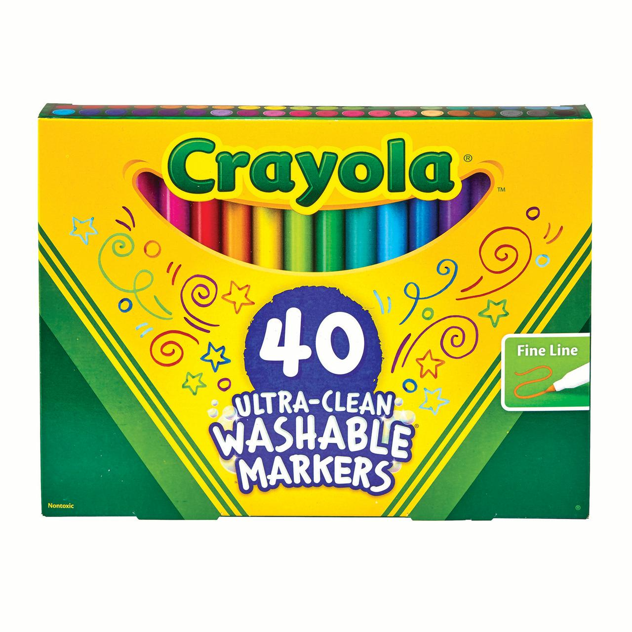 Crayola Ultra-Clean Washable Marker Set, Fine Line, School Supplies, 40 Count