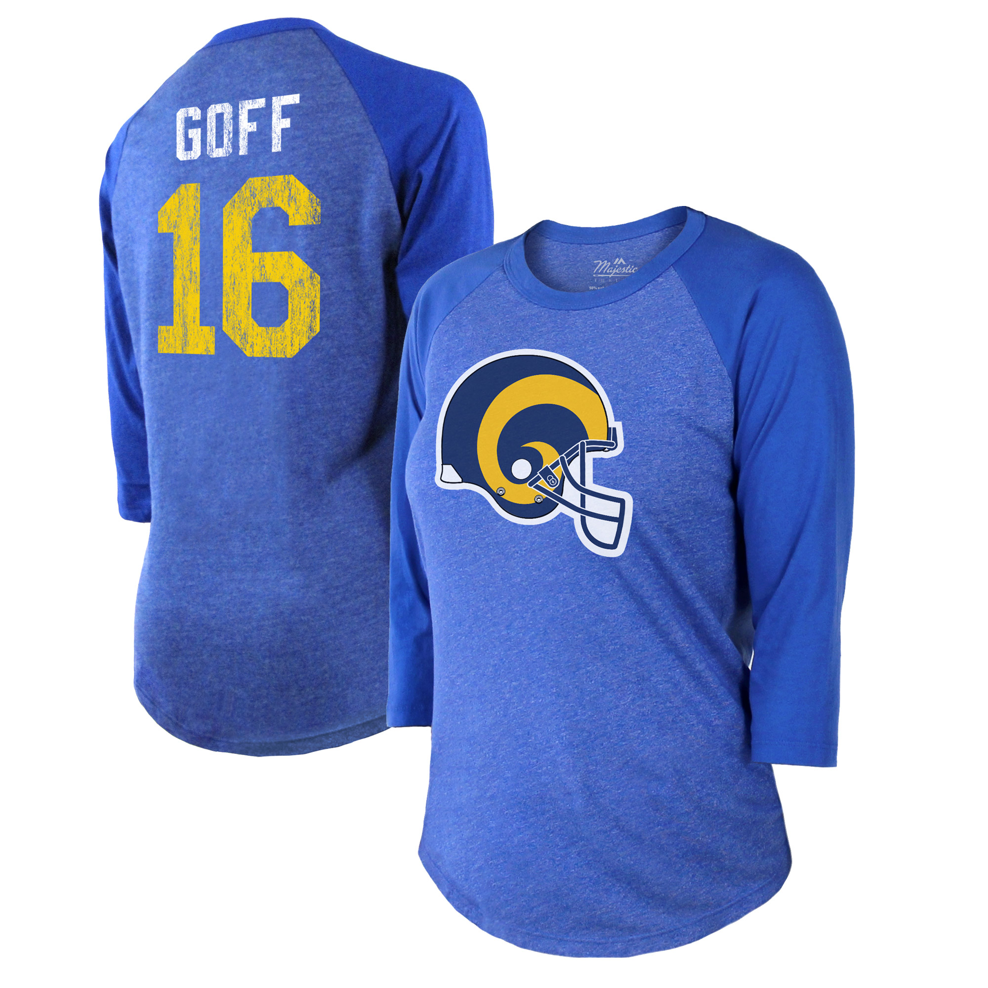 Jared Goff Los Angeles Rams Majestic Threads Women's Player Name & Number Raglan Tri-Blend 3/4-Sleeve T-Shirt - Royal