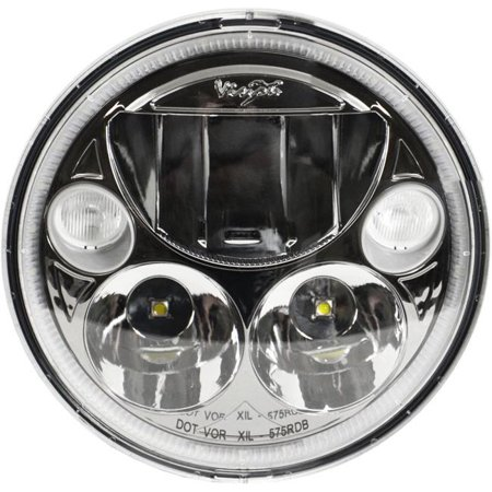 Vision X Lighting XMC-575RDBA Single Black & Chrome Face 5.75 in. Round Amber Halo VX LED Headlight with (High Cheekbones Round Face)