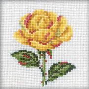"Yellow Rose Counted Cross Stitch Kit-4""X4"" 14 Count"