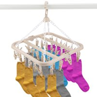 Zaqw 32 Clips Folding Clothes Hanger Dryer Windproof Socks Underwear Drying Rack Children,Clothes Hanger, Socks Drying Rack
