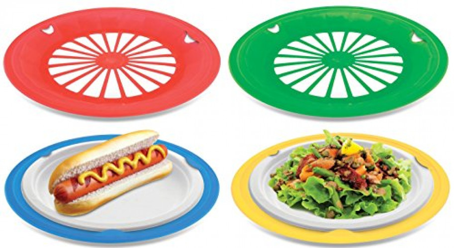 KOVOT Set of 16 Plastic Reusable Paper Plate Holders For 9\  Plates (Multicolored)  sc 1 st  Walmart : paper plate holders walmart - pezcame.com