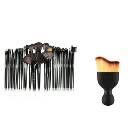 Zodaca 32 pcs Makeup Brushes Kit Set Powder Foundation with Black Pouch Bag  and Wave Curved Tip Contouring Makeup Brush Bundle Set