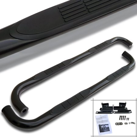 Spec-D Tuning For 1999-2018 Chevy Silverado Sierra Extended Cab S/S Side Step Nerf Bar Black 2002 2003 2004 2005 2006 2007 2008 2009 2010 2011 2012 2013 2014 2015 2016 (Left+Right)