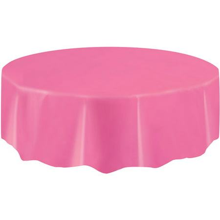 Hot Pink Party Decorations (Hot Pink Plastic Party Tablecloth, Round,)