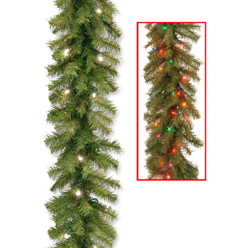 """National Tree 9' x 10"""" Norwood Fir Garland with 50 Battery Operated Dual LED Lights"""