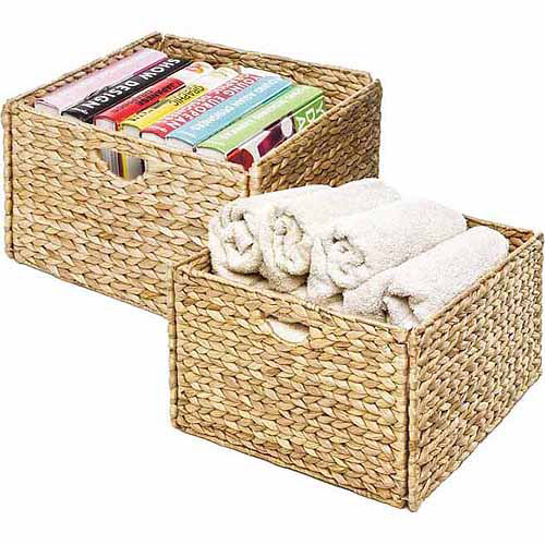 Seville Classics Hand-Woven Hyacinth Storage Cube Basket, (Set of 2)