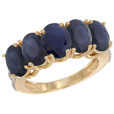 Natural Padparadscha Sapphire - 10K Yellow Gold Natural Blue Sapphire 1.14 ct. Oval 7x5mm 5-Stone Mother's Ring with Diamond Accents, sizes 5 to 10 with half sizes
