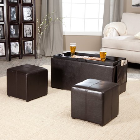 Linon Double Storage Ottoman With Side Pocket Dark Brown