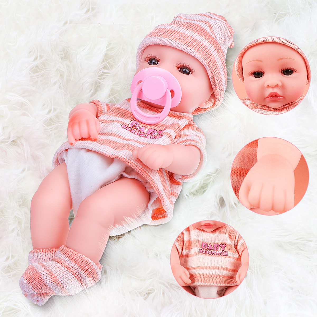 12/'/' Lifelike Newborn Silicon Vinyl Reborn Gift Baby Doll Handmade Realistic Toy