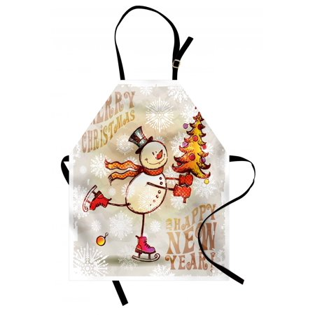 Christmas Apron Skating Happy Snowman with Christmas Tree Cheerful Hand Drawn Ornate Snowflakes, Unisex Kitchen Bib Apron with Adjustable Neck for Cooking Baking Gardening, Multicolor, by Ambesonne