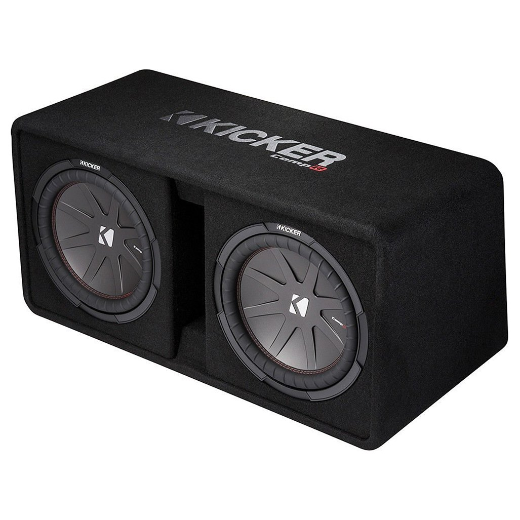 "Kicker Dual CompR 12"" 2000W 2-Ohm High-Performance Loaded Subwoofer Enclosure"