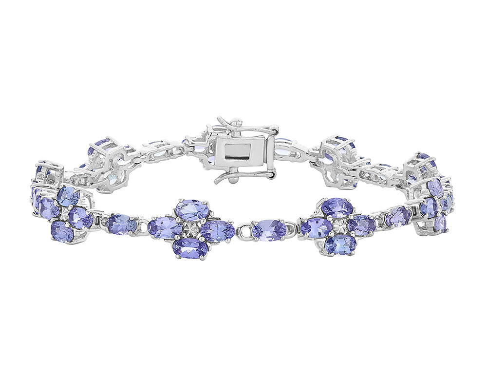 Tanzanite Flower Bracelet 8.00 Carat (ctw) in Sterling Silver by Gem And Harmony