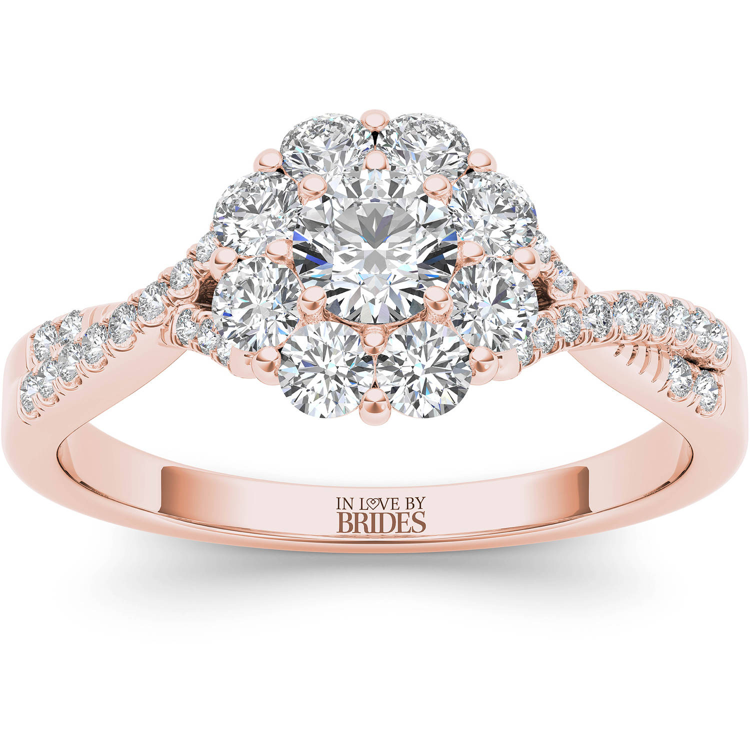 IN LOVE BY BRIDES 3/4 Carat T.W. Certified Diamond Flower Burst 14kt Pink Gold Engagement Ring