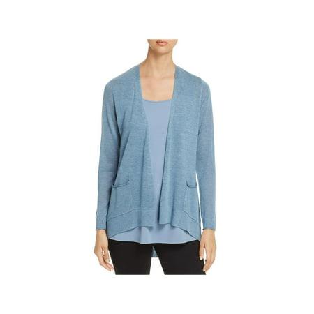 Eileen Fisher Nylon Cardigan - Eileen Fisher Womens Petites Tencel Slouchy Cardigan Sweater Blue PP