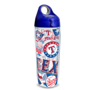 MLB Texas Rangers All Over 24 oz Water Bottle with lid