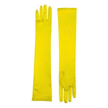 LONG SATIN DRESS GLOVES-YELLOW (Stretch Satin Dress Gloves)