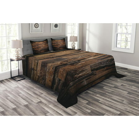 Chocolate Bedspread Set, Rough Dark Timber Texture Image Rustic Country Theme Hardwood Carpentry, Decorative Quilted Coverlet Set with Pillow Shams Included, Brown Dark Brown, by Ambesonne ()