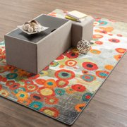 Mohawk Home Strata Tossed Floral Multi Printed Area Rug, 6'x9', Grey & Orange