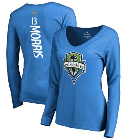 b6e20e3fd41 Jordan Morris Seattle Sounders FC Fanatics Branded Women s Backer Name    Number Long Sleeve V-Neck T-Shirt - Blue - Walmart.com