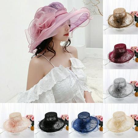 Navy Derby Hat (Women Derby Sun Hat Kentucky Derby Sun Hat Wide Brim Wedding Tea Party Church Organza Hats NEW Sun Hats Women Solid Flower)