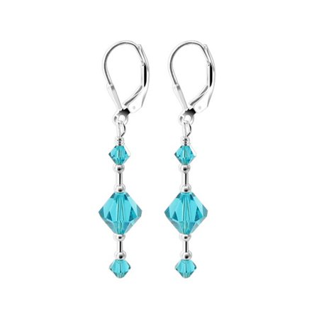 Gem Avenue 925 Sterling Silver Made With Swarovski Elements Blue Zircon Color Crystal Handmade Leverback Dangle Earrings