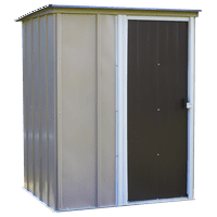 Steel Storage Shed 5 x 4 ft. Pent Roof Galvanized Coffee/Taupe/Eggshell