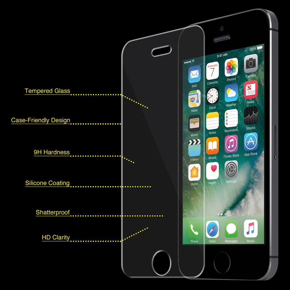 Premium Scratch Resistant HD Clear Tempered Glass Screen Protector Guard for Apple iPhone 5, iPhone 5S, iPhone 5C, iPhone SE