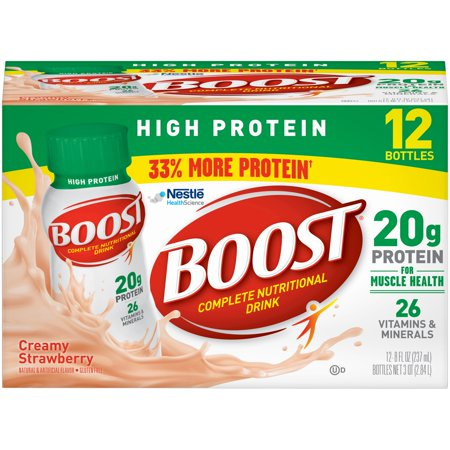 Boost High Protein Complete Nutritional Drink, Creamy Strawberry, 8 fl oz Bottle, 12