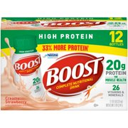 Boost High Protein Ready to Drink Nutritional Drink, Creamy Strawberry, 12 - 8 FL OZ Bottles