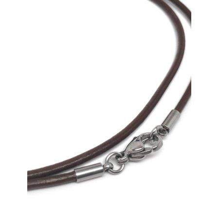 Chocolate Brown Leather Necklace Cord (2mm) with Stainless Steel Clasps