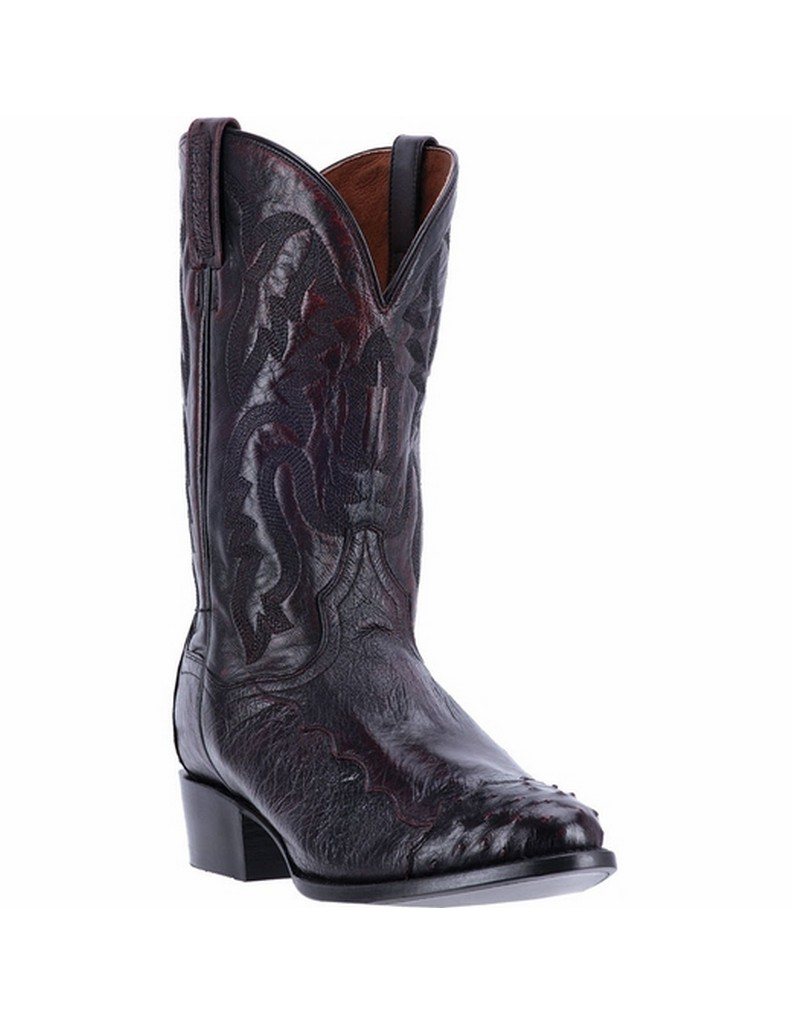 "Dan Post Men's 13"" Ostrich Senator Leather Shaft Black Cherry Boot, DPP5205 by DAN POST"
