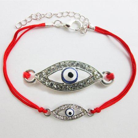 1 Evil Eye Hamsa Nazar Mati Silver Plated Red Macrame Kabbalah Bracelet Lucky