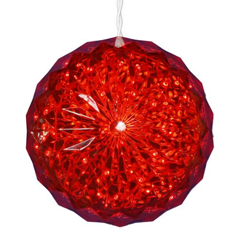 """Red LED Lighted Hanging Crystal Sphere Ball Outdoor Christmas Decoration 6"""""""