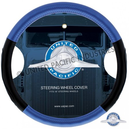"""18"""" Carbon Fiber Style Steering Wheel Cover - Blue Carbon Fiber Steering Wheel Cover"""