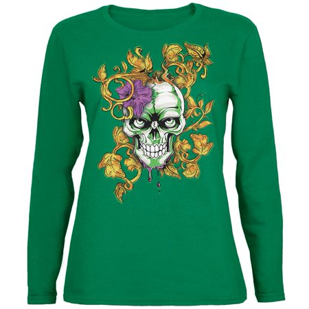 Mardi Gras Voodoo Zombie Skull Womens Long Sleeve T Shirt (Mardi Gras Woman)