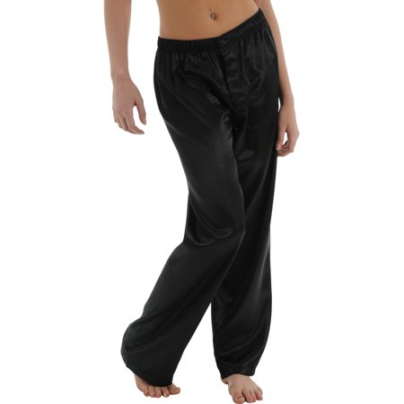 Womens Black Charmeuse Pants Satin Pajamas Sexy Lounge Wear Sleepwear Bottoms