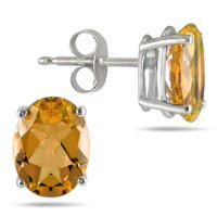 Szul Jewelry All-Natural Genuine 6x4 mm Oval Citrine Earrings in 14k White Gold