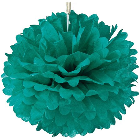 Tissue Paper Pom Pom (15-Inch, Teal) - For Baby Showers, Nurseries, and Parties - Hanging Paper Flower Decorations