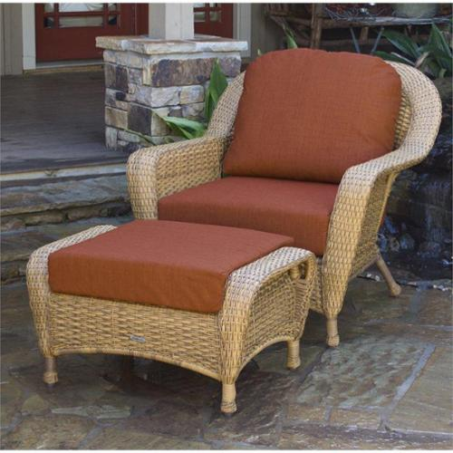 Tortuga Lexington Outdoor Chair with Ottoman-Java Rave Brick