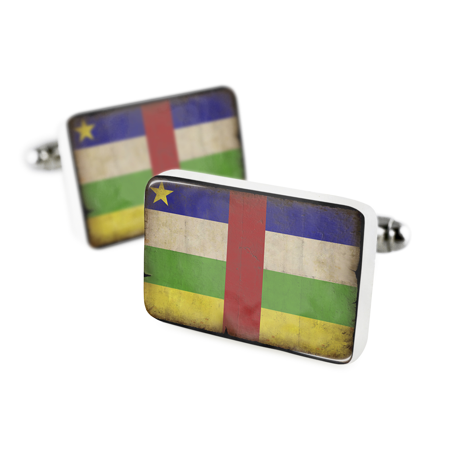 Cufflinks Central African Republic Flag with a vintage lookPorcelain Ceramic NEONBLOND