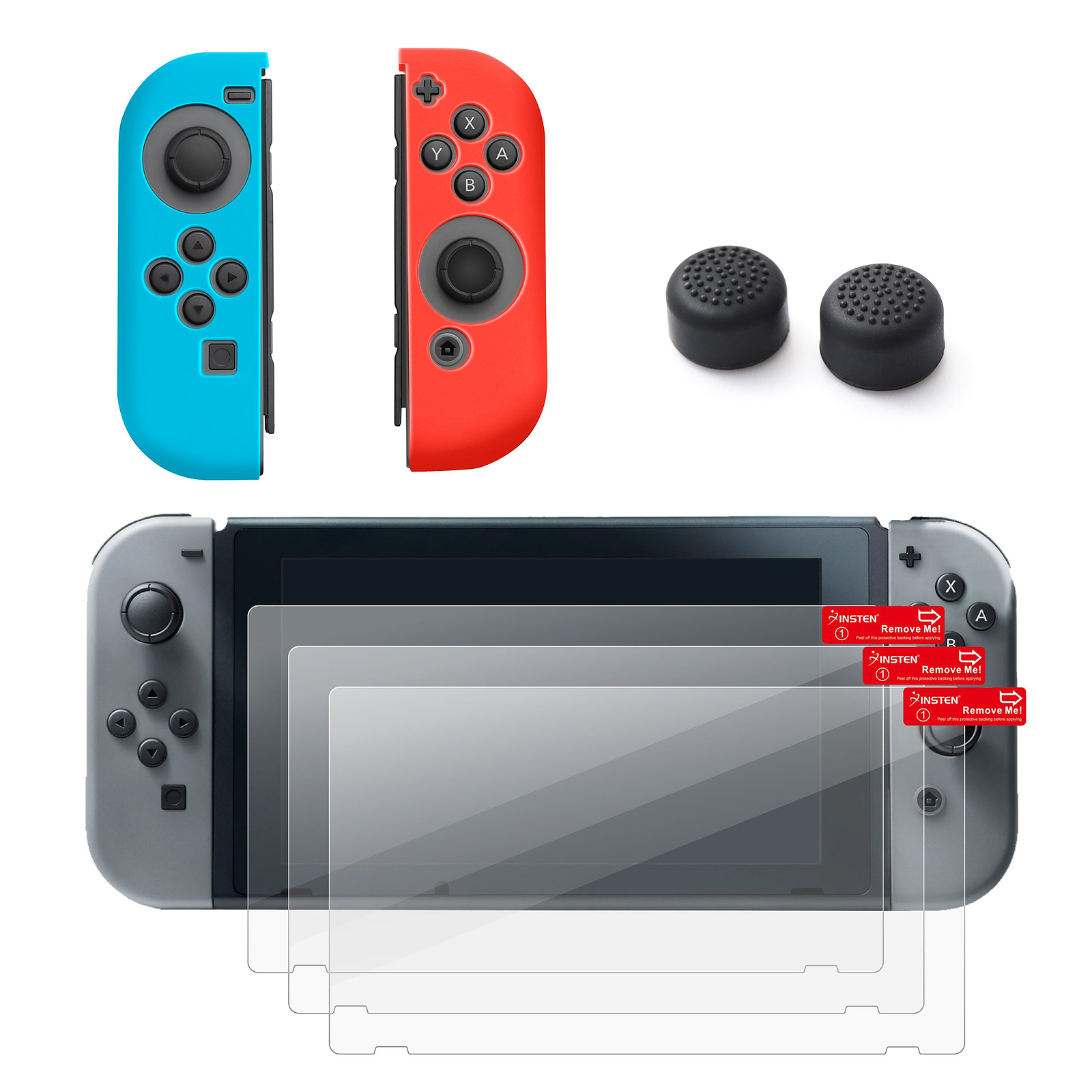Nintendo Swtich 4 items Bundle, by Insten Joy-Con Controller Case Skin [Left BLUE/Right RED] + 3-pack Clear Screen Protector + Joy-Con Gaming Thumb Grip Stick Caps Style 1 for Nintendo Switch