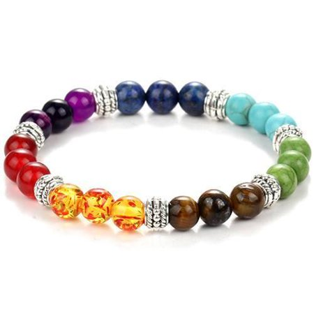 7 Color Chakra Natural Healing Bracelet - Amethyst Tigers Eye (Amethyst Tiger)