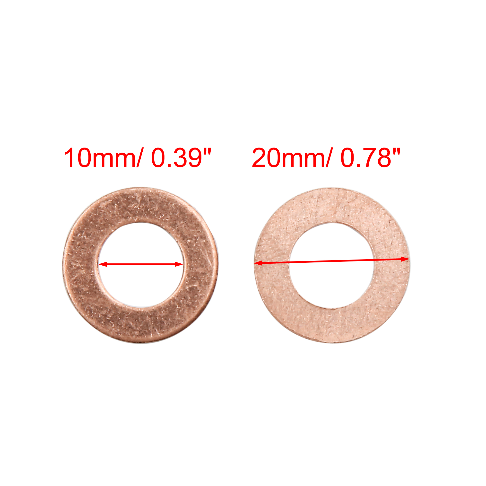 20 Pcs 10mm Inner Diameter Copper Washers Flat Sealing Gaskets Rings - image 2 de 3