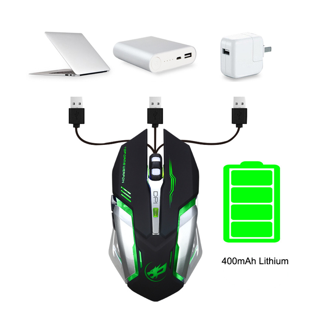DZT1968 Rechargeable T1 Wireless Silent LED Backlit USB Optical Ergonomic Gaming Mouse