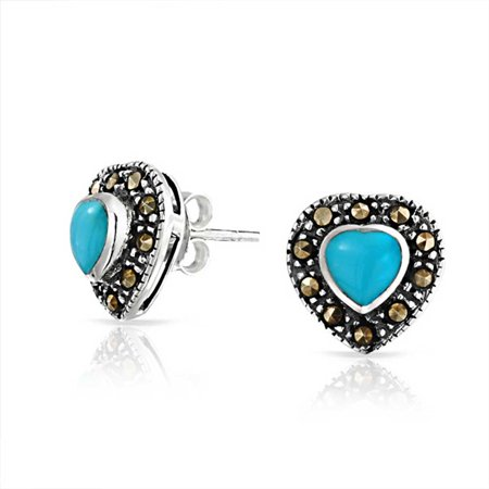 Stabilized Turquoise Marcasite Halo Heart Shape Stud Earrings Oxidized 925 Sterling Silver December Birthstone 11MM