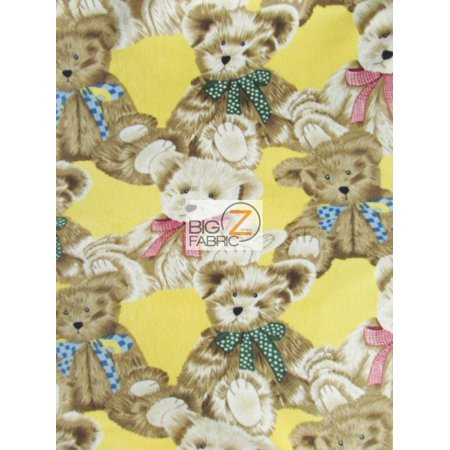 - Fleece Printed Fabric / Where Are My Teddy Bears Yellow / Sold By The Yard