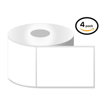"OfficeSmartLabels 4"" x 5"" Thermal Transfer Labels, Zebra Compatible Labels (4 Rolls, 300 Labels Per Roll, 1 inch Core, White, 4"" Diameter, Perforated)"